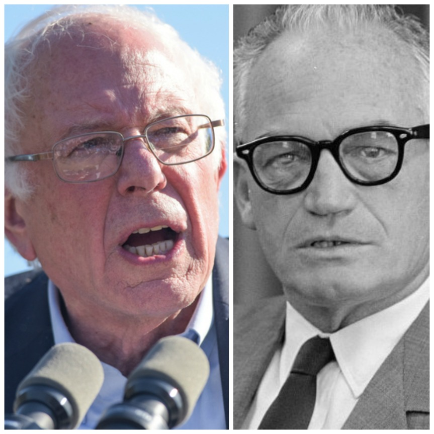 (Left) New York City - NY - USA - April 17 2016: Democratic presidential candidate Bernie Sanders speaks at podium before a crowd of supporters in Prospect Park, Brooklyn (Right) Barry Goldwater portrait by Trikosko, Marion S., photographer - http://www.loc.gov/pictures/item/2009632121/, Public Domain, https://commons.wikimedia.org/w/index.php?curid=11992534