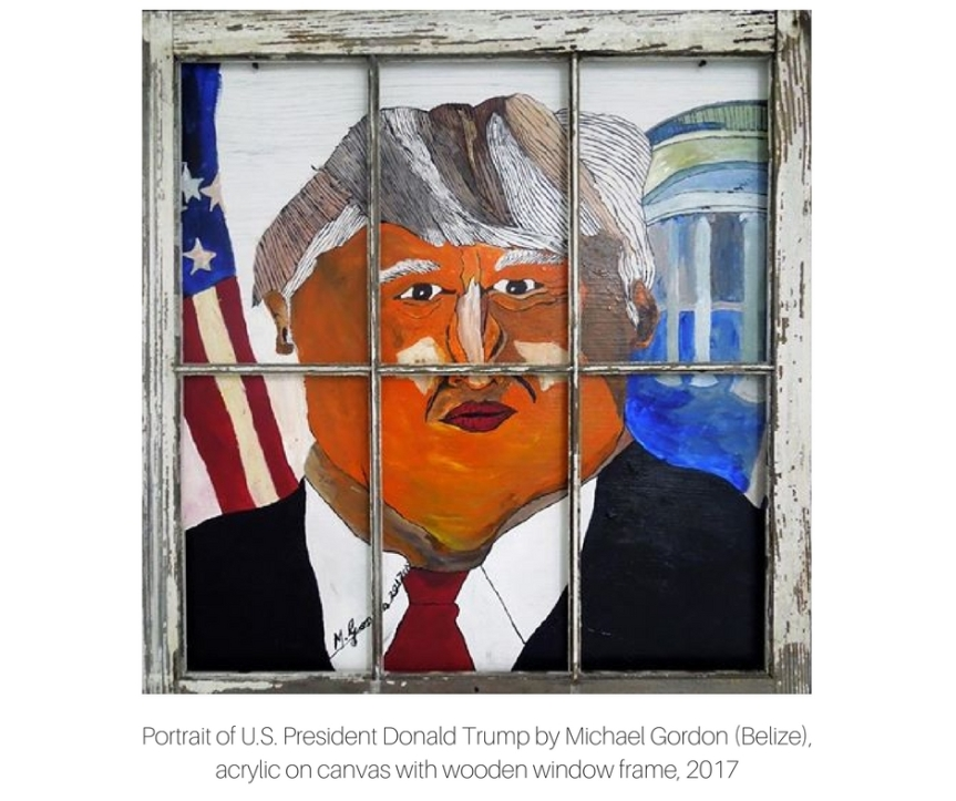 Portrait of US President Donald Trump, Michael Gordon (Belize), acrylic on canvas with wooden window frame, 2017